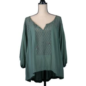 Free People Green Lace Peasant Blouse SIze S